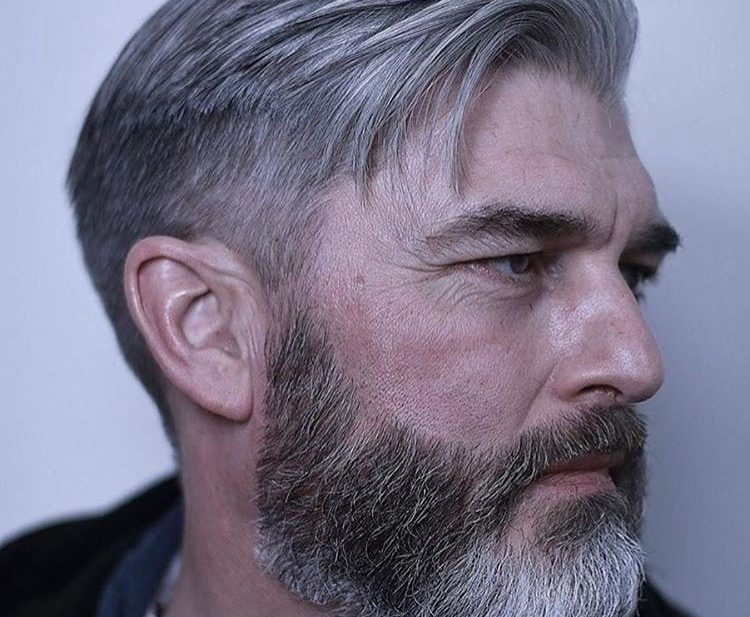 Regular Cut with Medium Textured Top Lengths and Tapered Sides on Silver Hair with Beard