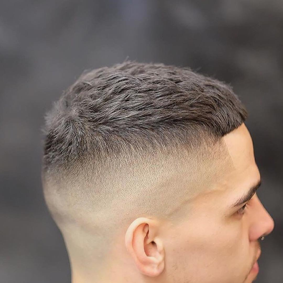 Mens Short Textured Crew Cut with Skin Fade and Bangs