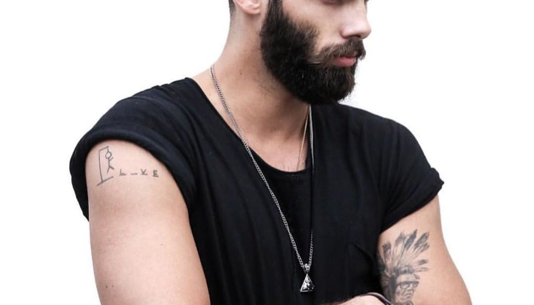 Short Crewcut with Blended Sides and Beard on Black Hair