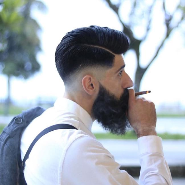 Undercut Comb Over with Volume and Hard Part