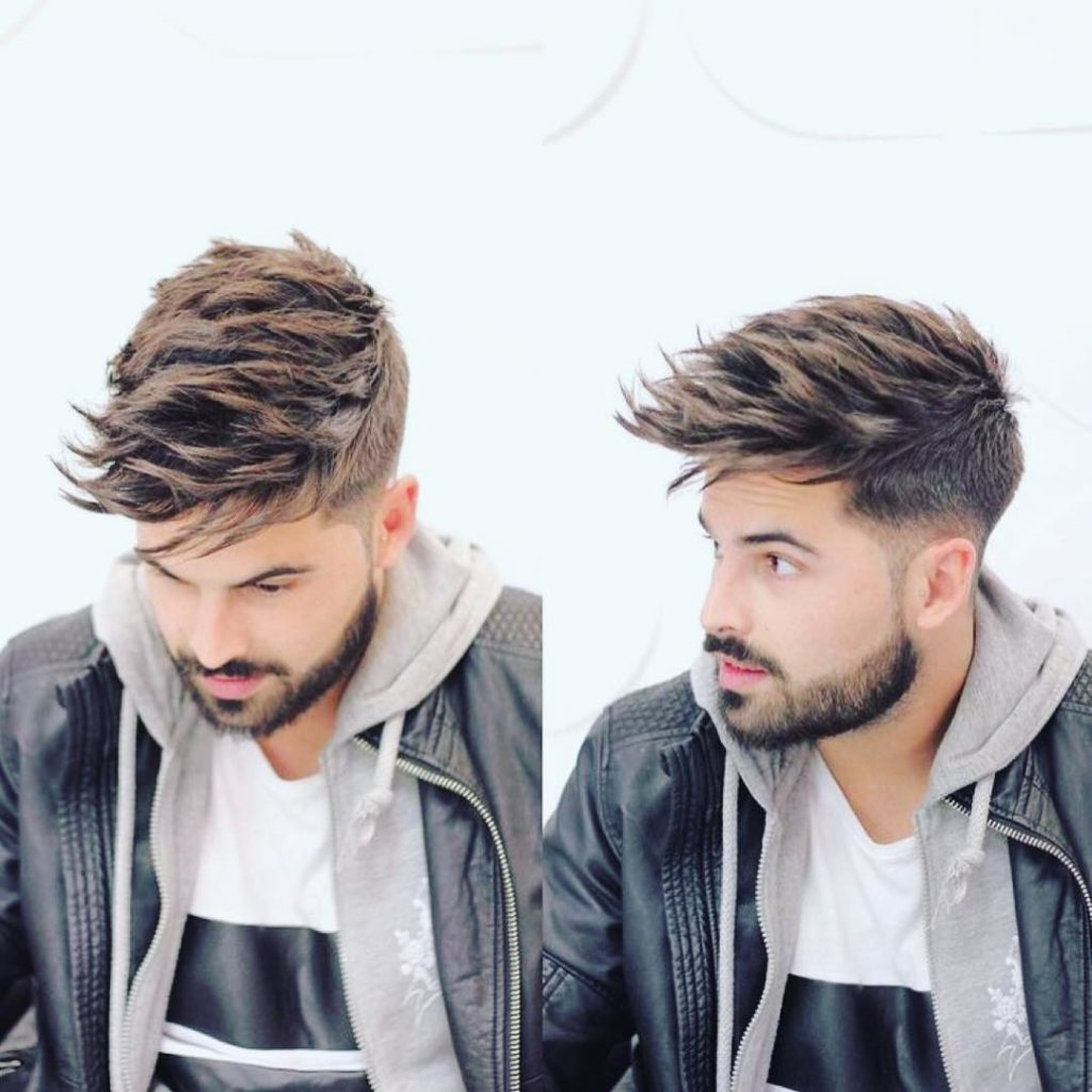Undercut with Long Textured Spiky Fringe on Brown Hair with Highlights