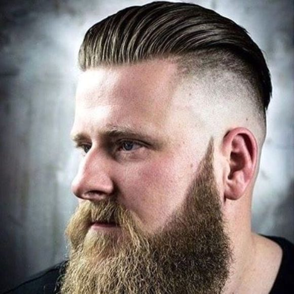 Slicked Back Undercut with High Skin Fade