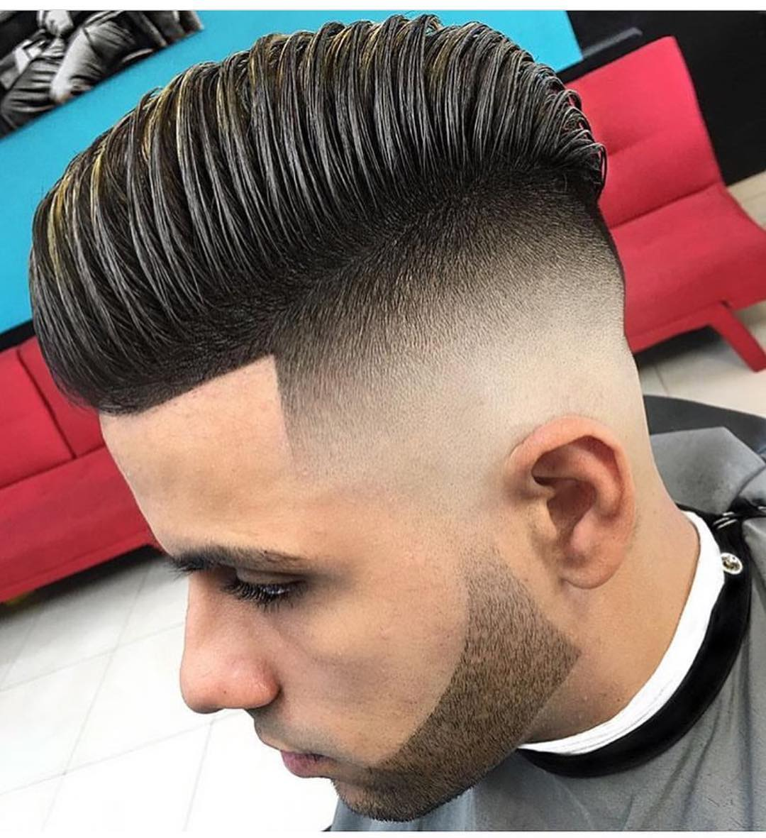 High Volume Comb Over Skin Fade