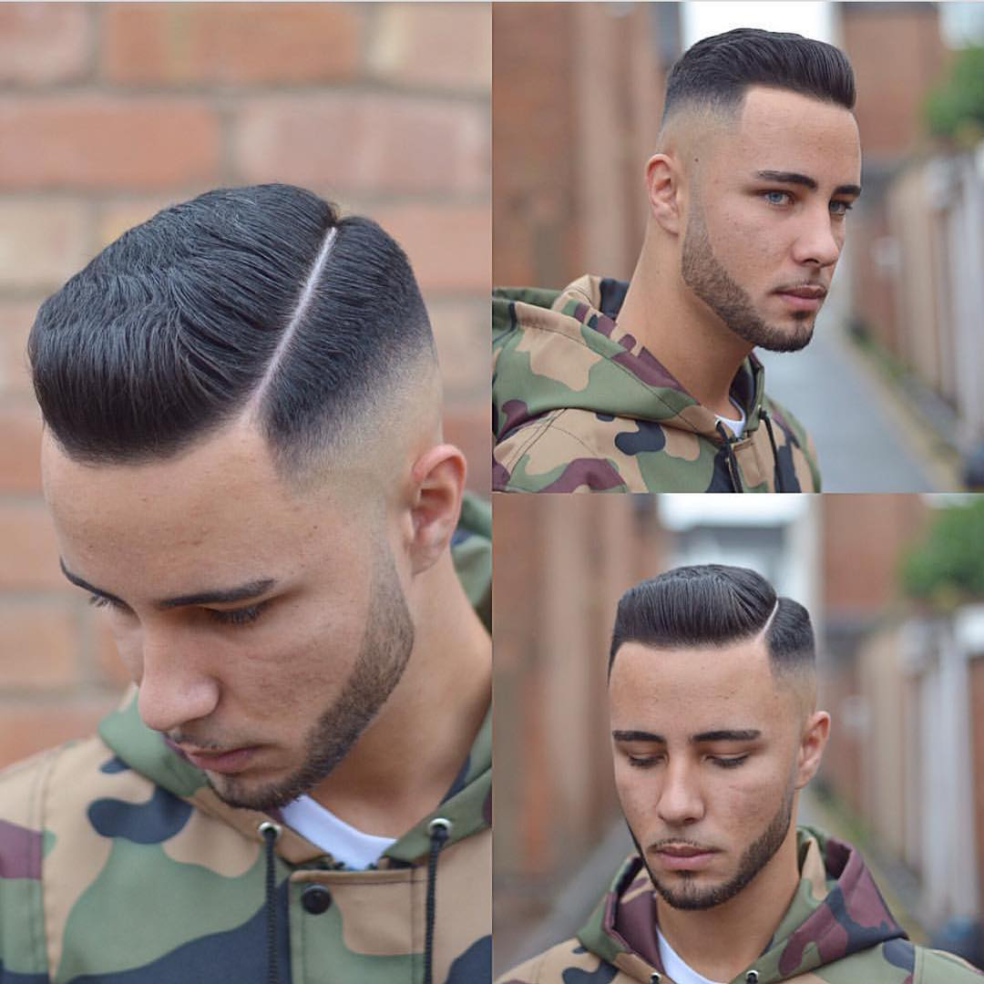 Short Pompadour Undercut with Fade and Hard Part