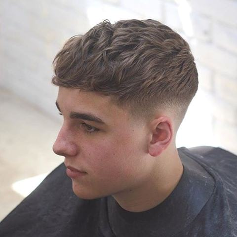 Crew Cut with Medium Wavy Top Lengths and Tapered Sides