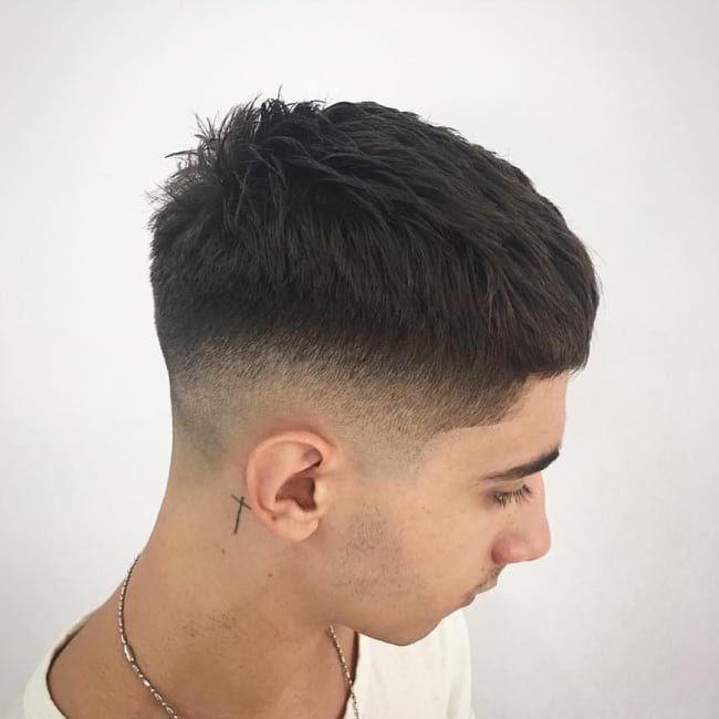 Textured Crew Cut with Tapered and Faded Sides on Dark Hair