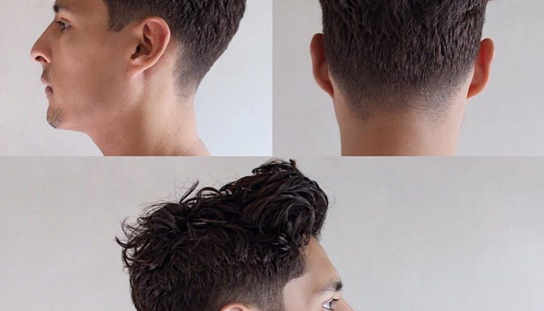 Tousled Wavy Regular Cut with Pompadour and Taper