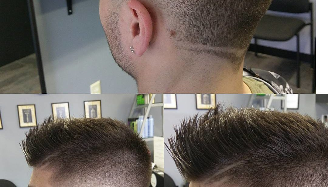 Short Dark Brown Faux Hawk with Shave Art Detail