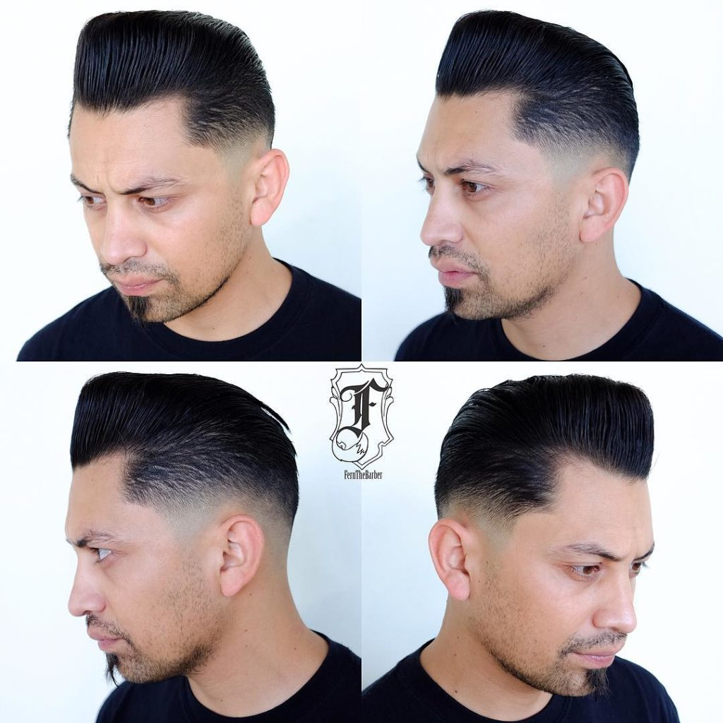 Slick Retro Pompadour with Temple Fade