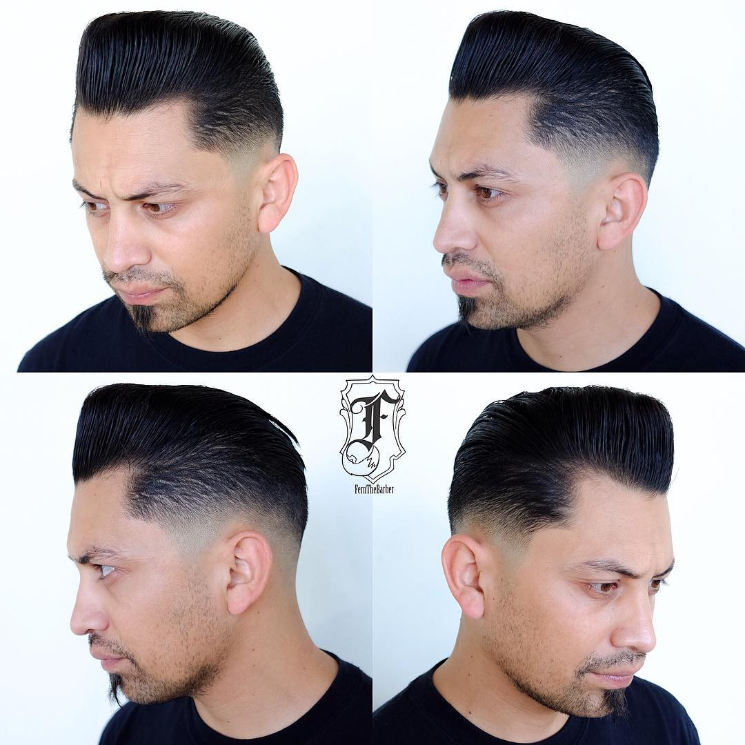 Slick Retro Pompadour with Drop Fade