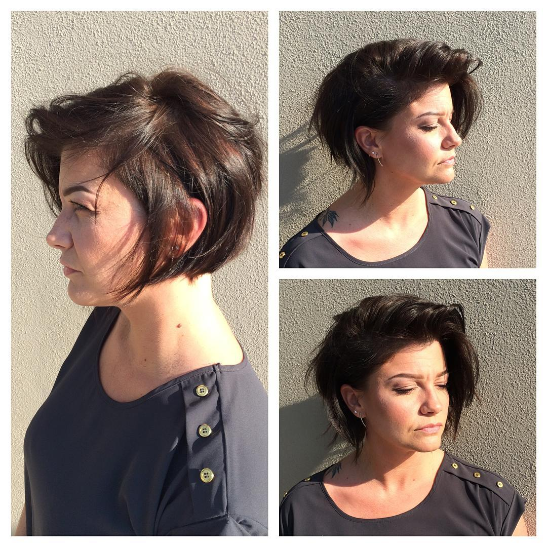 Brunette Textured Messy Asymmetrical Bob