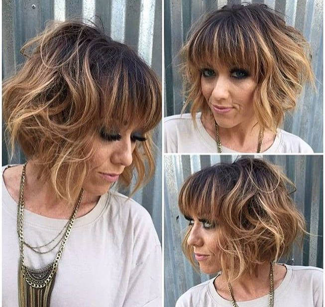Short Messy Bob with Bangs and Wavy Texture on Brunette Balayage
