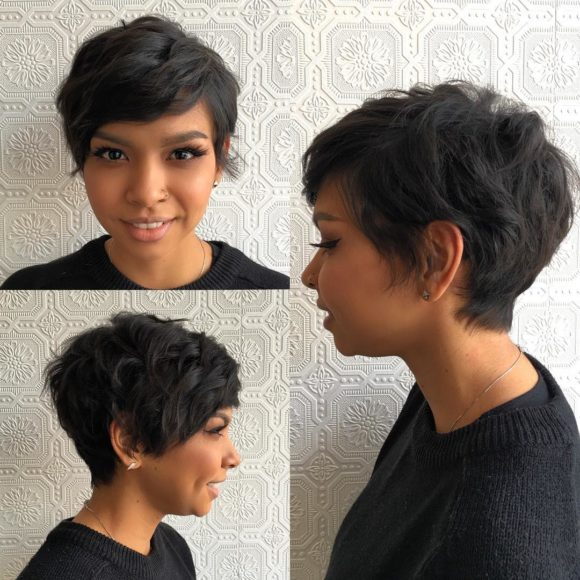 Choppy Textured Pixie Crop on Dark Hair