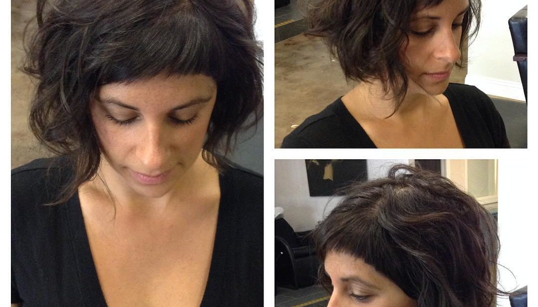 Brunette Wavy Messy Textured Bob with Baby Bangs