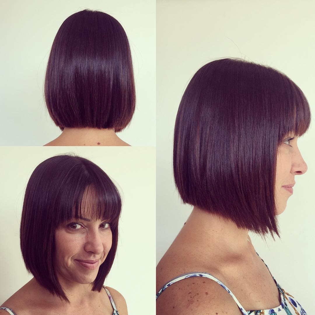 Medium Length Bob Cut with Thin Fringe Bangs on Dark Hair