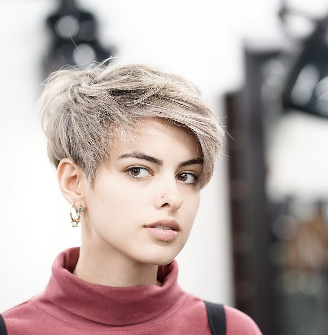 Messy Feathered Pixie with Side-Swept Bangs