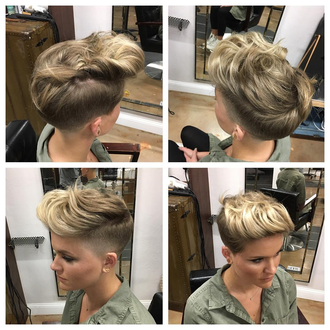 Pinned and Twisted Undercut Pixie on Dark Blonde Hair