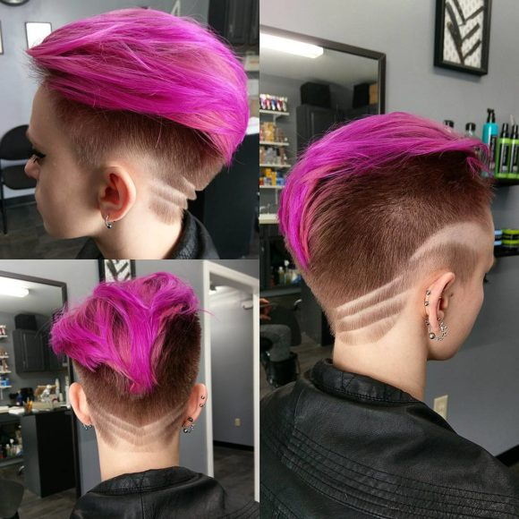 Bright Pink Backcombed Undercut Pixie with Rose Highlights and Shaved Art