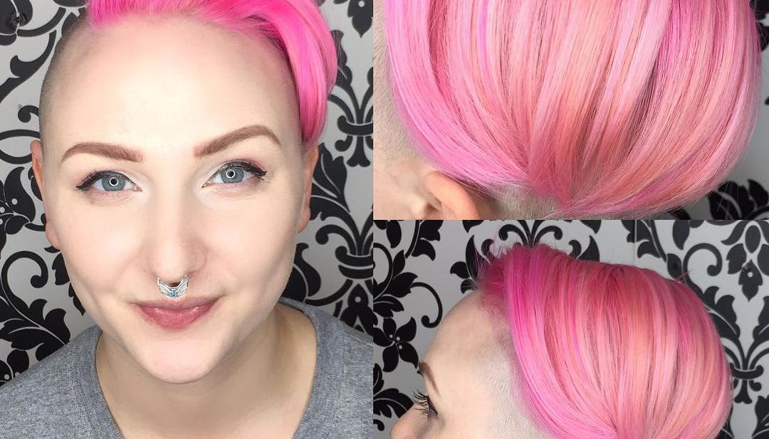 Combover Undercut Pixie with Shaved Sides and Pink Color