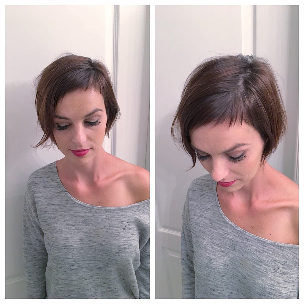 Modern Brunette Pixie Crop with Fringe and Baby Bangs