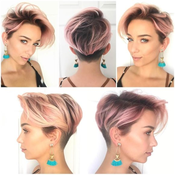 Pink Layered Undercut Pixie