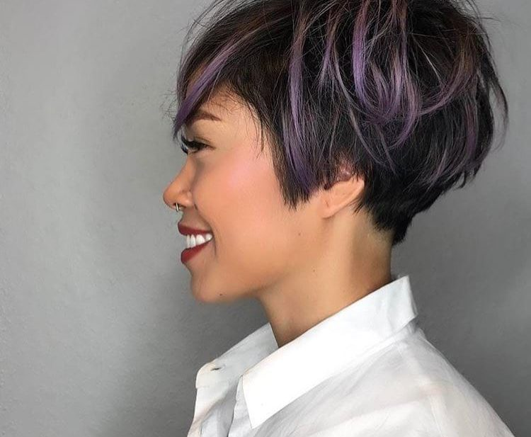 Messy Graduated Pixie on Black Hair with Purple Highlighted Fringe