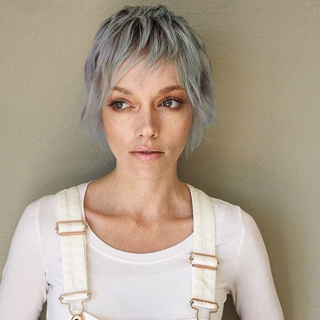 Long Silver Shaggy Pixie Cut with Choppy Bangs - The Latest Hairstyles for Men and Women (2020 ...