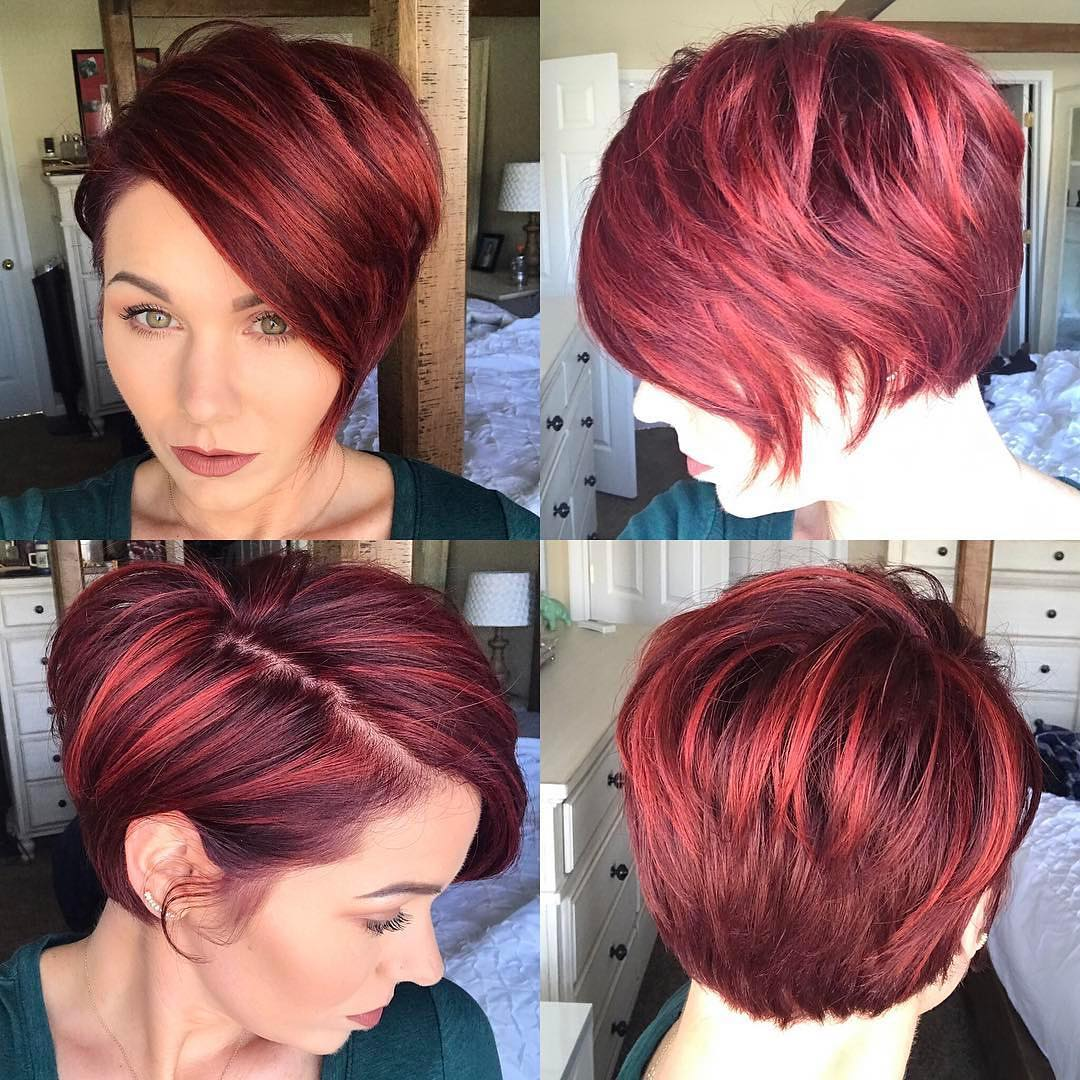 Red Highlighted Graduated Asymmetrical Pixie with Full Side Swept Bangs