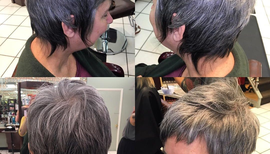 Silver Ombre Pixie Cut with Long Shaggy Fringe and Short Choppy Bangs