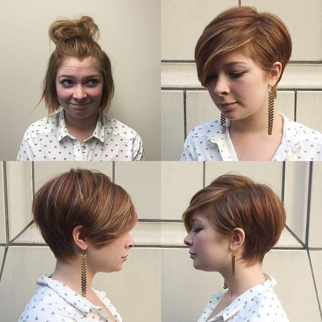 Polished Pixie with Full Side-Swept Bangs and Highlights