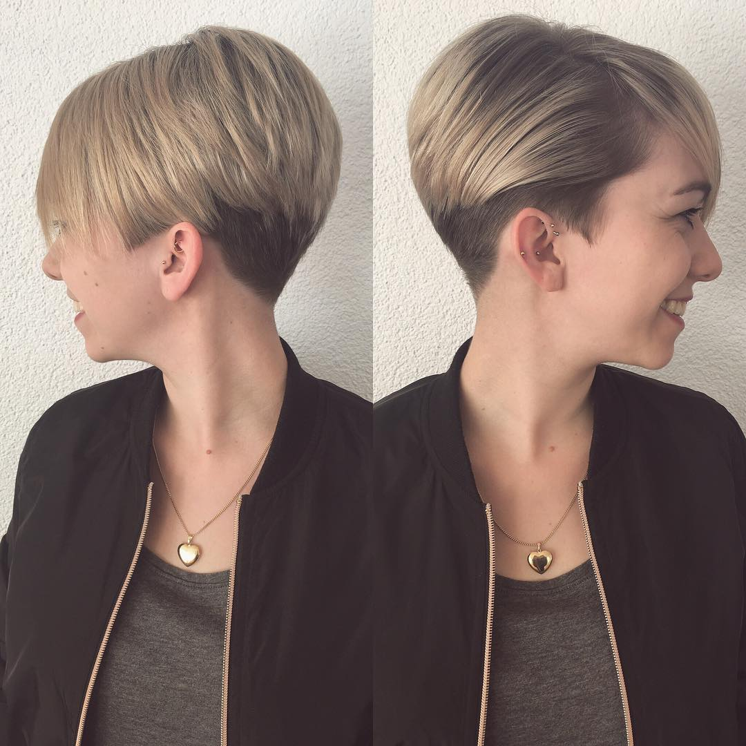 Short Blonde Graduated Pixie with Full Side Swept Bangs
