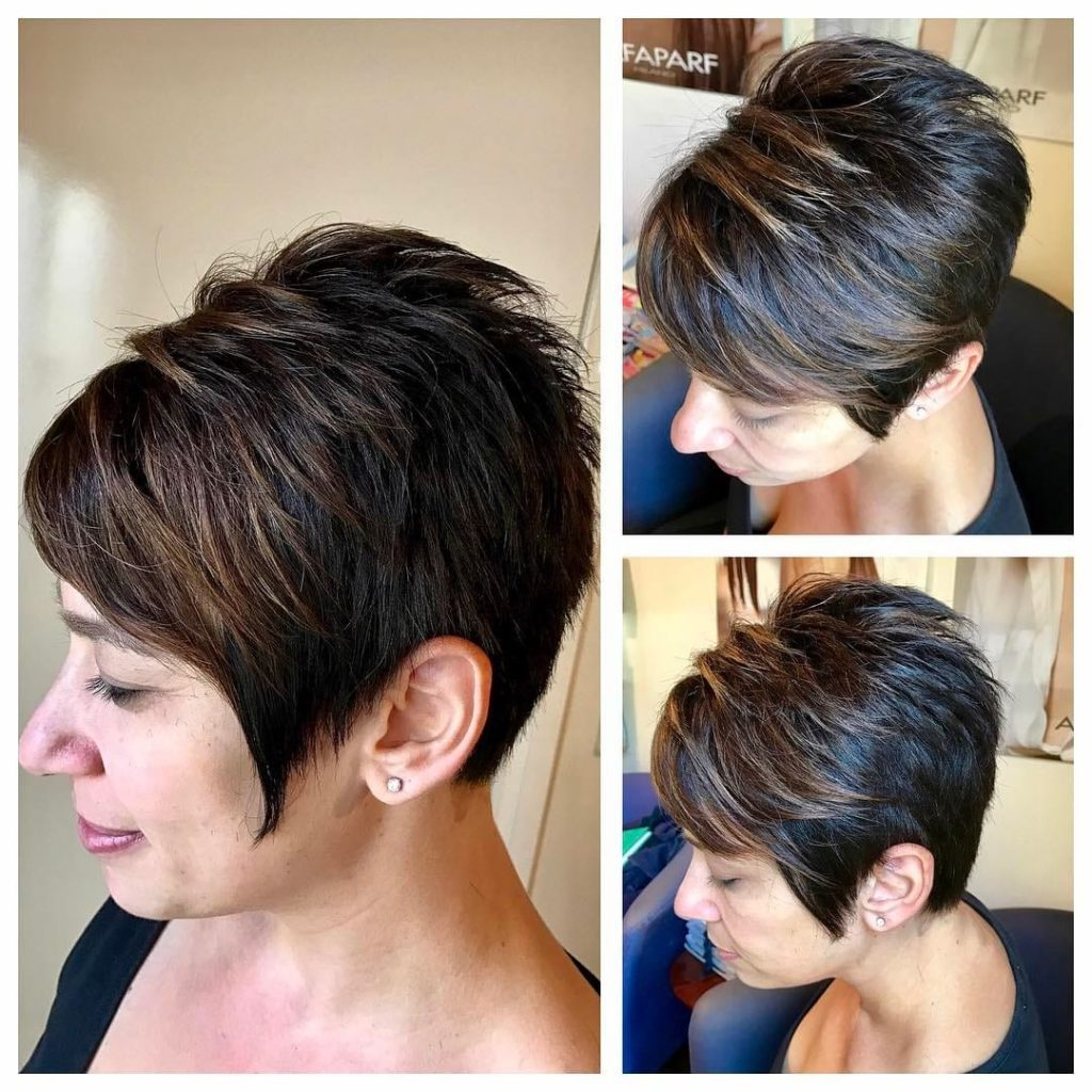 Short Spiky Textured Pixie with Side Swept Bangs and Dark Hair with Highlights