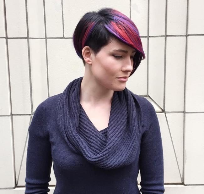 Asymmetrical Pixie with Side Swept Bangs and Pink and Purple Highlights