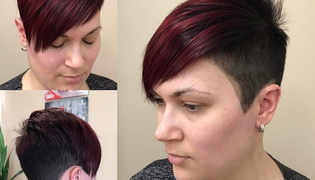 Burgundy Undercut Asymmetrical Pixie