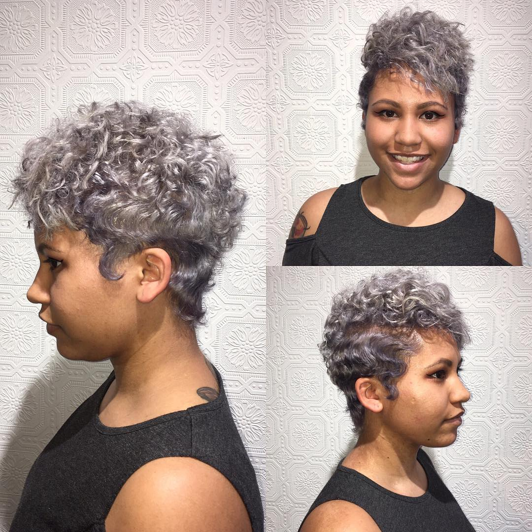 Silver Messy Curly Pixie Cut with Top Volume