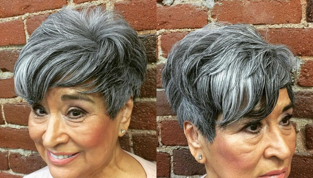 Voluminous Tousled Pixie with Long Fringe Lengths and Bangs on Silver Hair with Highlights