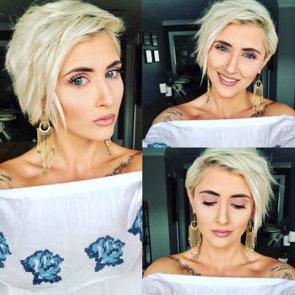 Textured Platinum Blonde Pixie with Messy Combover Waves
