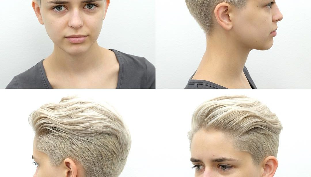 Platinum Blonde Pixie with Long Top Fringe Styled in a Quiff