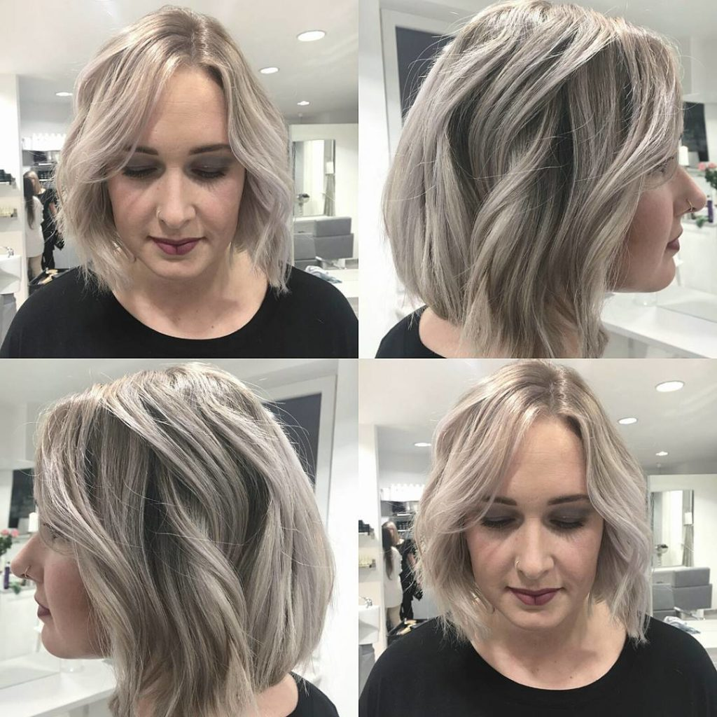 Chic Wavy Blunt Bob with Platinum Blonde and Ash Coloring
