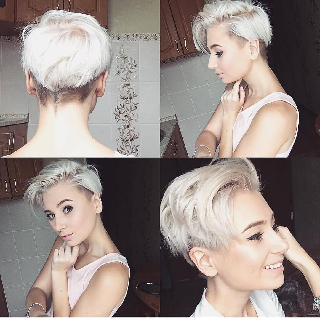 Messy Side Parted Undercut Pixie with Platinum Color