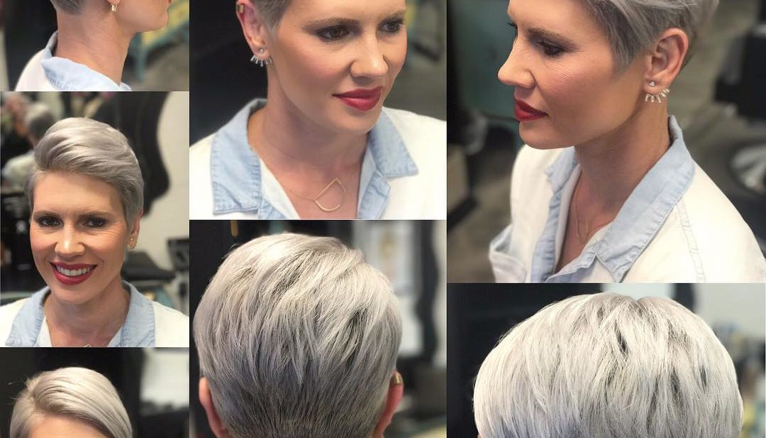 Versatile Polished Pixie Cut with Platinum Color and Tapered Nape