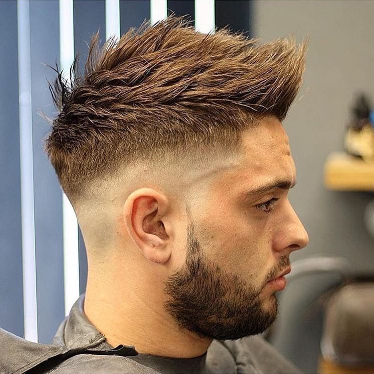 Spiky Textured Undercut with Faded Sides on Brown Hair