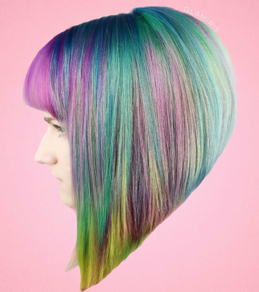 Short Blunt Sharp Angled Bob with Full Bangs and Rainbow Color