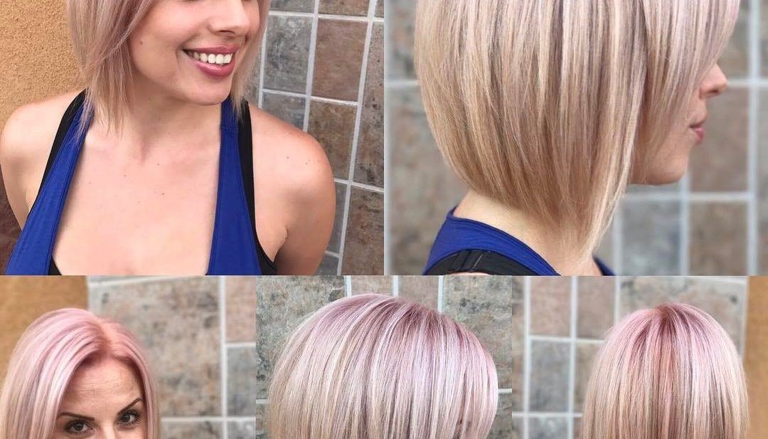 Sexy Sleek Bob with Soft Rose Gold Color