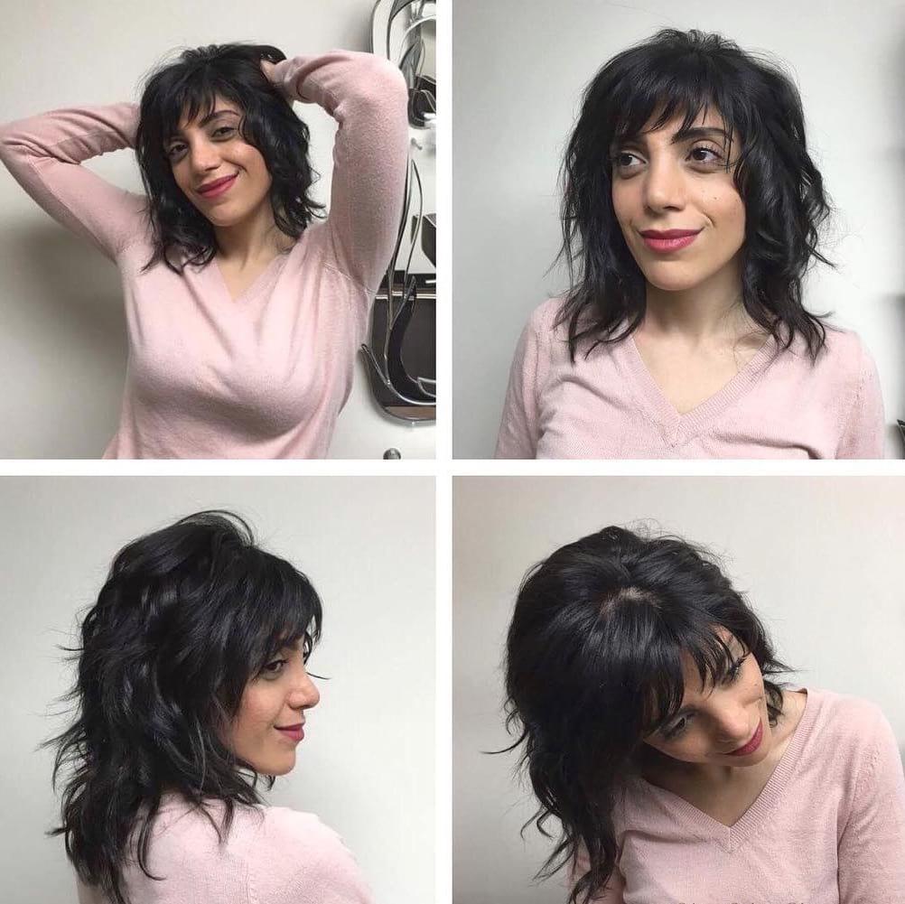 Long Messy Wavy Shag Cut with Bangs on Black Hair
