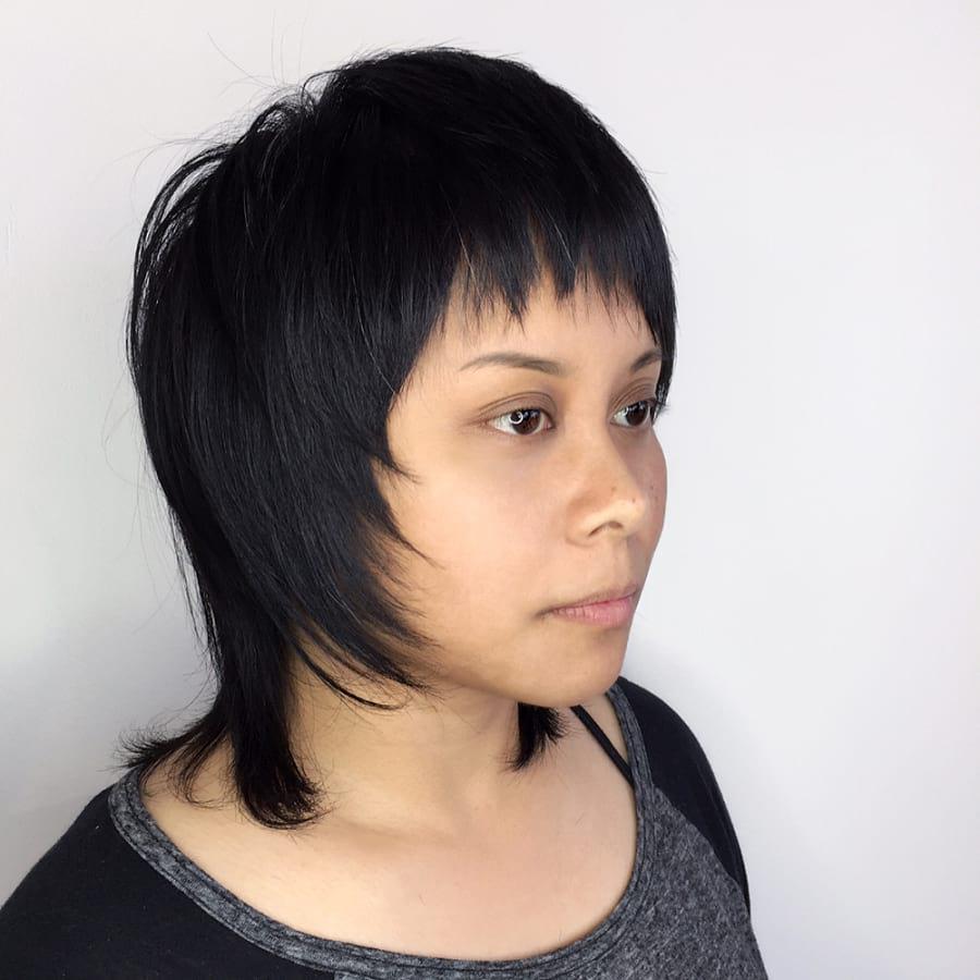Short Shag Cut with Fringe Bangs on Dark Hair