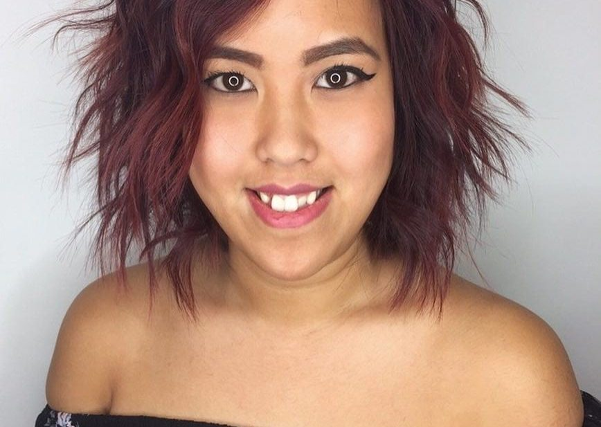 Messy Burgundy Bob with Shaggy Waves and Highlights