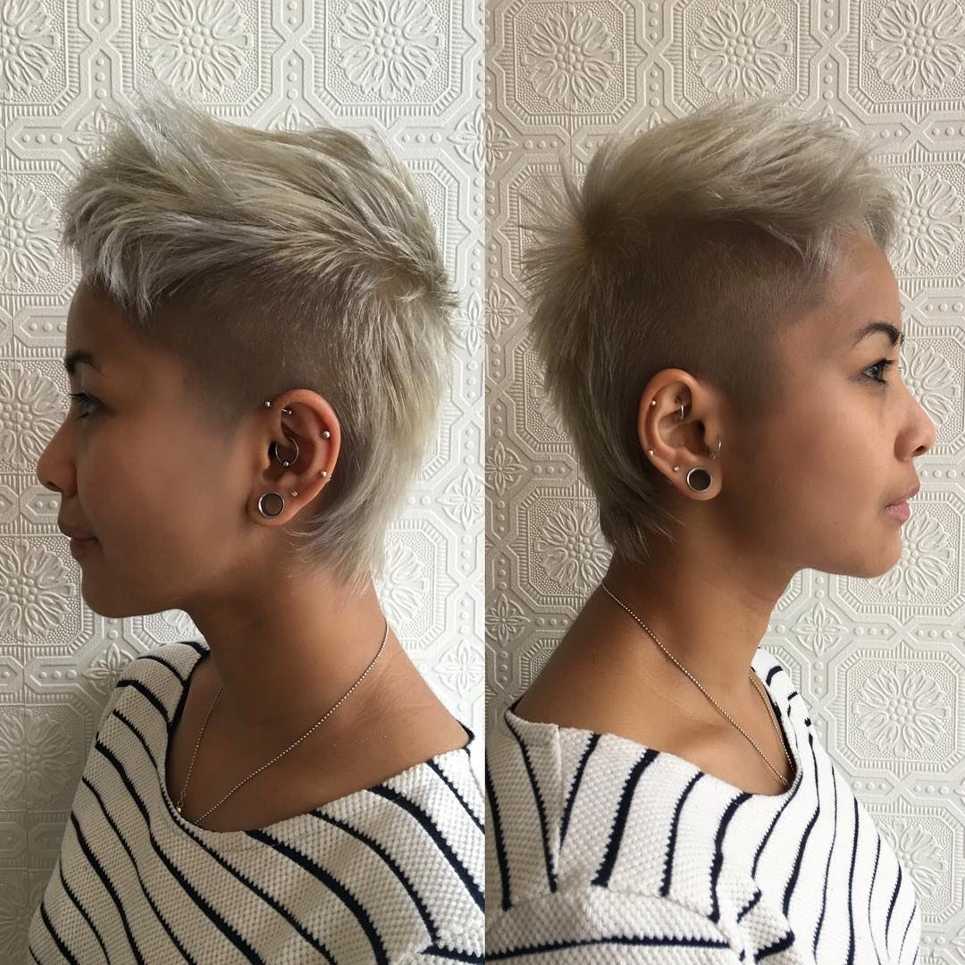 Short Platinum Blonde Mullet with Shaved Sides and Textured Top Lengths