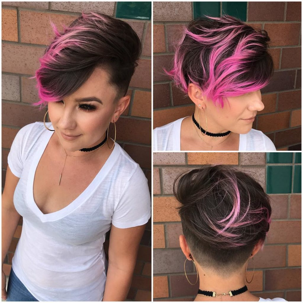 Brunette Combover Pixie with Bright Pink Highlights and Tousled Top Lengths