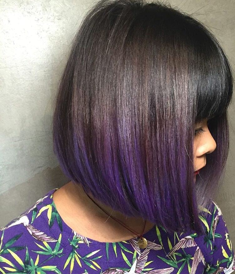 Sleek Blunt Bob with Full Bangs and Purple Ombre